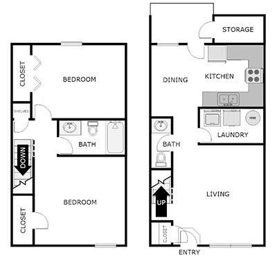 2 bed 1.5 bath floor plan