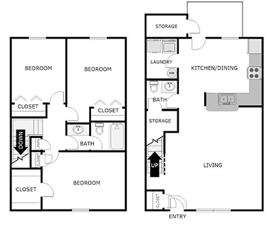 3 bed 1.5 bath floor plan